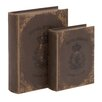 <strong>Woodland Imports</strong> 2 Piece Vintage Themed Wooden Book Shaped Box Set