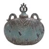 <strong>Ceramic Decorative Flat Jar with Lid</strong> by Woodland Imports