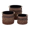 Woodland Imports 3 Piece Round Pot Planter Set