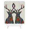 DENY Designs Sharon Turner Poinsettia Deer Woven Polyester Shower Curtain