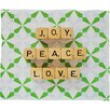 DENY Designs Happee Monkee Joy Peace Love Plush Fleece Throw Blanket
