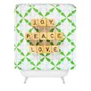 DENY Designs Happee Monkee Joy Peace Love Woven Polyester Shower Curtain
