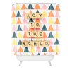 DENY Designs Happee Monkee Joy To The World Woven Polyester Shower Curtain
