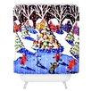 DENY Designs Renie Britenbucher Christmas Ice Skaters Woven Polyester Shower Curtain