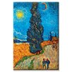 Buyenlarge Road with Cypresses Painting Print on Canvas