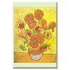 Buyenlarge Vase with Fourteen Sunflowers Painting Print on Canvas