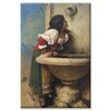 Buyenlarge Roman Girl at a Fountain Painting Print on Canvas