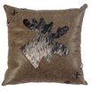 Wooded River Jacobs Plaid Moose Cut Out Pillow With Leather Back