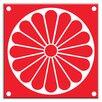 """Oscar & Izzy Folksy Love 6"""" x 6"""" Satin Decorative Tile in Citrus Plate Red-White"""