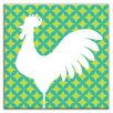 "Oscar & Izzy Folksy Love 6"" x 6"" Glossy Decorative Tile in Doodle-Do Green-Left"