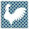 "Oscar & Izzy Folksy Love 4-1/4"" x 4-1/4"" Satin Decorative Tile in Doodle-Do Navy Left"