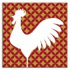 "<strong>Oscar & Izzy</strong> Folksy Love 4-1/4"" x 4-1/4"" Satin Decorative Tile in Doodle-Do Red Left"