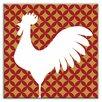 "Oscar & Izzy Folksy Love 6"" x 6"" Satin Decorative Tile in Doodle-Do Red Left"