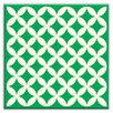 "Oscar & Izzy Folksy Love 4-1/4"" x 4-1/4"" Glossy Decorative Tile in Needle Point Green"