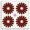 "Oscar & Izzy Folksy Love 4-1/4"" x 4-1/4"" Satin Decorative Tile in Pinwheels Burgundy"