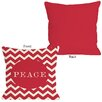 One Bella Casa Holiday Peace Chevron Stripe Pillow