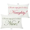 One Bella Casa Holiday Santa Says Naughty or Nice Reversible Pillow