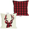 One Bella Casa Plaid Reindeer Reversible Pillow
