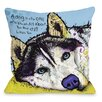 One Bella Casa Doggy Décor Siberian Husky with Text Pillow