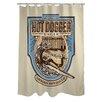 One Bella Casa Doggy Decor Hot Dogger Polyester Shower Curtain