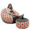 Big Tree Furniture koze fom Shredded Foam Bean Bag 50-inch Aura Granite