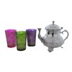 <strong>Divine Designs</strong> Moroccan Teapot with 3 Tea Glasses