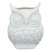 "9"" White Ceramic Owl Statue"