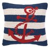 <strong>Peking Handicraft</strong> Nautical Hook Anchor Stripe Pillow