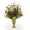 Distinctive Designs Fall Artificial Mix of Daisies, Wax Flowers, Helleboure and Grass in Ribbed Metal Urn