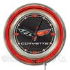 "<strong>Holland Bar Stool</strong> Corvette - C6 15"" Double Neon Ring Logo Wall Clock"