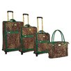 <strong>Adrienne Vittadini</strong> Leopard 4 Piece Luggage Set