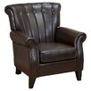 Home Loft Concept Tallow Channel Tufted Leather Arm Chair