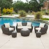 Home Loft Concept Beaufort Outdoor 6 Piece Wicker Seating Group with Cushions