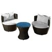 Home Loft Concept Cozenza 3 Piece Seating Group in Brown with Cushions