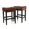 "<strong>Home Loft Concept</strong> Develin 27"" Backless Leather Counterstools (Set of 2)"