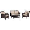 Home Loft Concept Savona 4 Piece Deep Seating Group with Beige Cushions