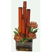 Creative Branch Faux Protea and Bamboo in Glass Vase
