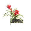 Creative Branch Faux Bromeliads in Glass Vase