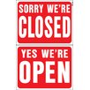 "Hy-Ko 15"" x 19"" Plastic Reversible Open Closed Sign (Set of 5)"
