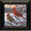 Artistic Reflections Winter Cardinals Framed Painting Print