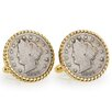 <strong>American Coin Treasures</strong> Nickel Liberty Bezel Rope Cufflinks