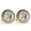 <strong>American Coin Treasures</strong> Mercury Bezel Rope Cufflinks