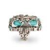<strong>Sweet Romance</strong> Fleur De Lis Rectangular Cut Turquoise Ring