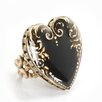 Sweet Romance Vintage Heart Crystals Ring