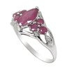 DeBuman Genuine White Gold Marquise Cut Ruby Ring