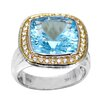 DeBuman Genuine Yellow Gold and 925 Silver Cushion Cut Blue Topaz Ring