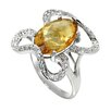DeBuman Genuine White Gold Oval Cut Citrine Ring