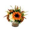 Creative Displays, Inc. Sunflower and Hydrangea Bean Pot
