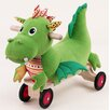 Softwood Puffy Dragon Four-Wheeled Plush Push/Scoot Ride-On