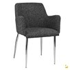 Kanto ARTIKA-4 Wool Arm Chairs with Chrome Legs (Set of 4) (Set of 2)